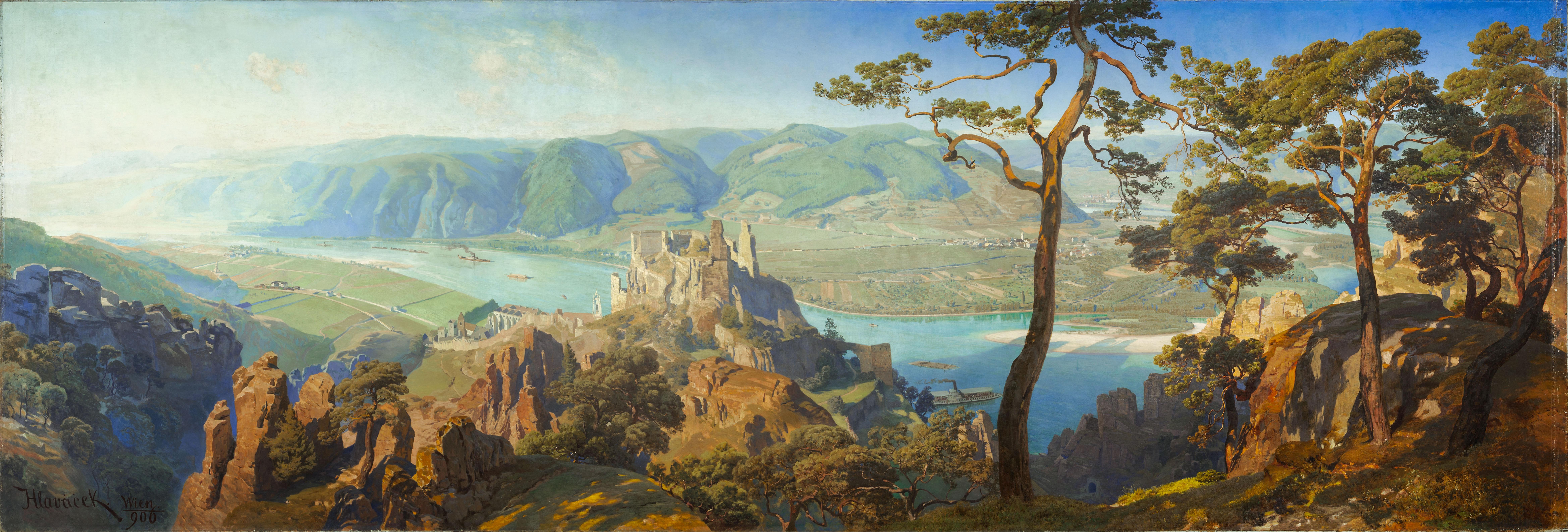 Anton Hlavacek, Panorama des Donautals mit der Burgruine Dürnstein, um 1905 © Landessammlungen NÖ