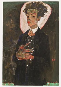 Egon Schiele, Selbstporträt mit Pfauenweste, 1911 © Ernst Ploil, Wien