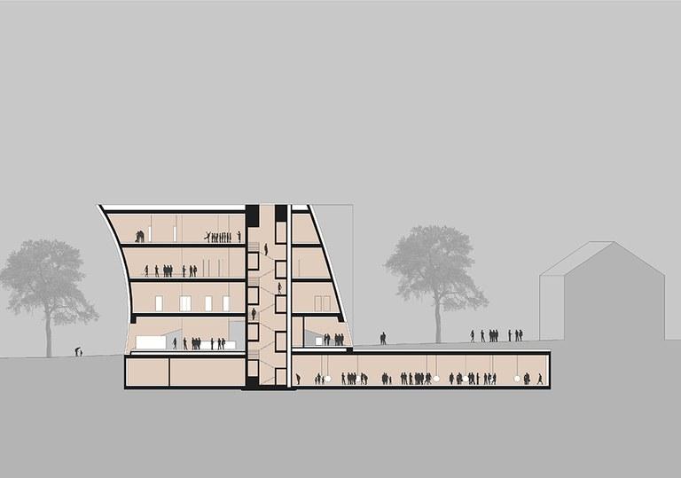 3.000 m² Ausstellungsfläche teilen sich auf vier Ebenen auf. Besonders Highlight wird künftig die Dachterrasse mit Blick Richtung Stift Göttweig sein. Außerdem wird es eine direkte, unterirdische Verbindung zur Kunsthalle Krems geben.  © marte.marte