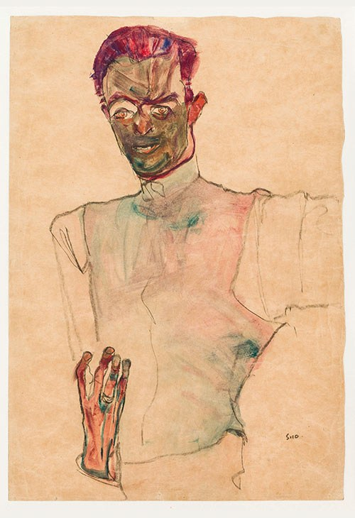 02 Egon Schiele, Selbstbildnis mit Gilet, 1910
